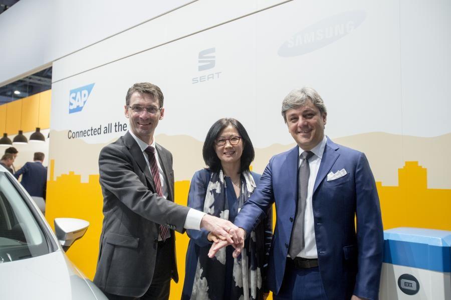 Directivos de Samsung y SAP y el presidente de SEAT se reúnen en el Mobile World Congress