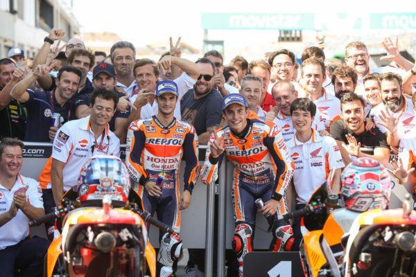 Doblete de Honda en Aragón y liderato para Márquez