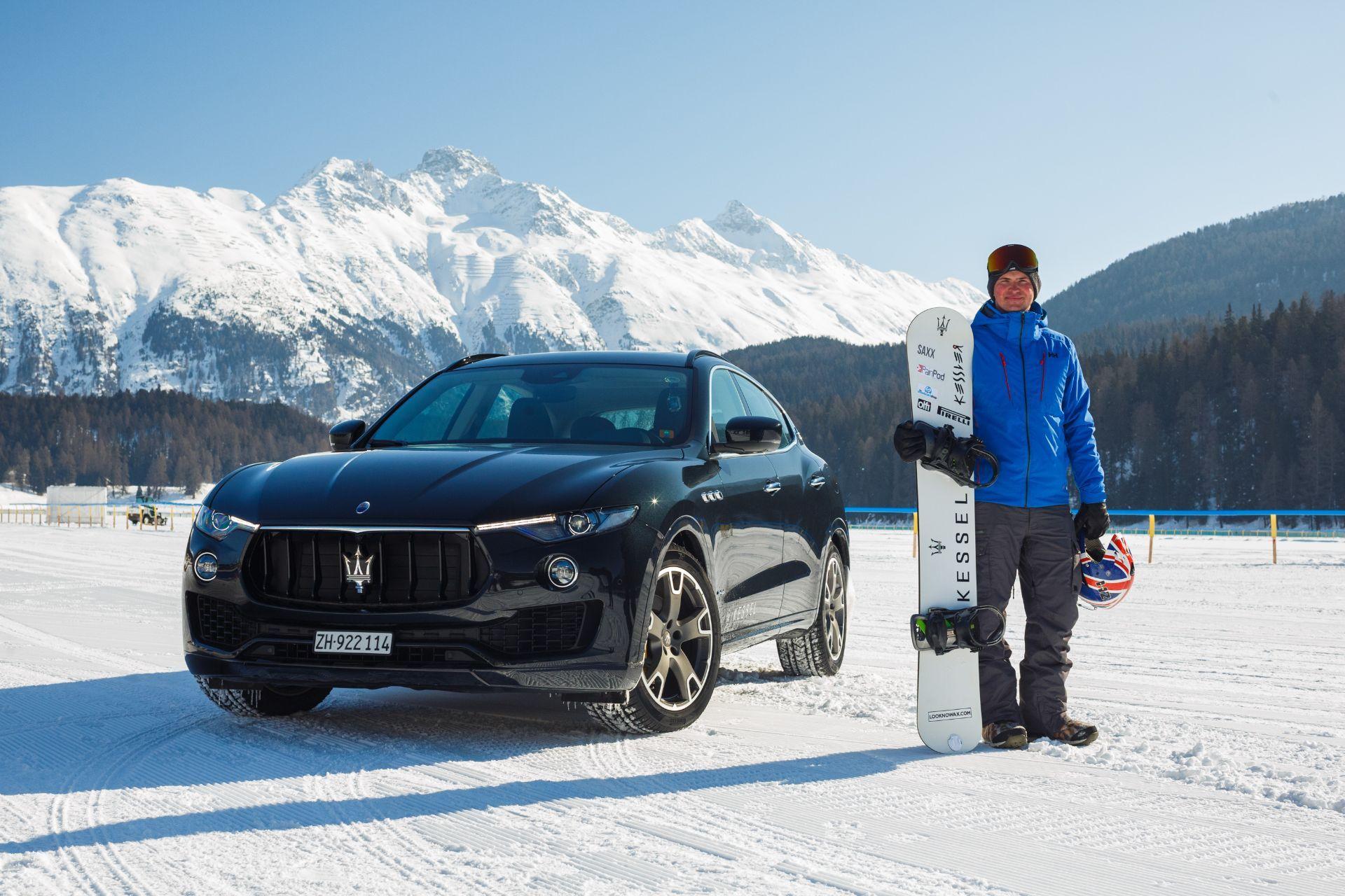 El rider inglés Jamie Barrow supera el Guinness World Record de velocidad en snowboard remolcado por un coche con la colaboración del Maserati Levante