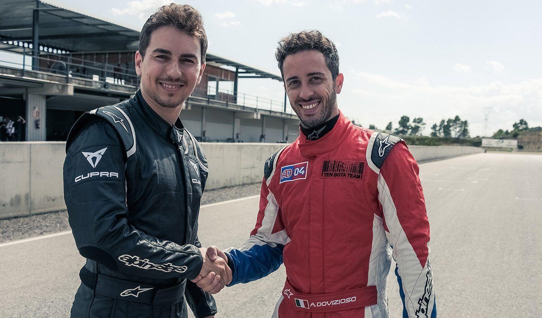 Dovizioso y Lorenzo, al volante del CUPRA TCR