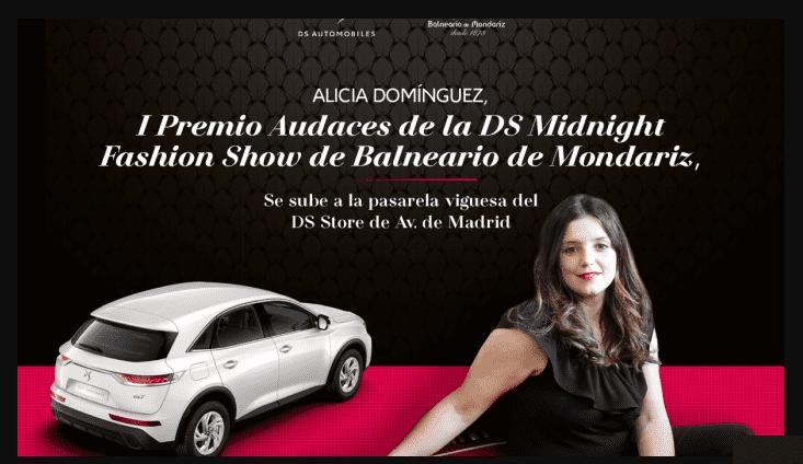ALICIA DOMÍNGUEZ, I PREMIO AUDACES DE LA DS MIDNIGHT FASHION SHOW DE BALNEARIO DE MONDARIZ, SE SUBE A LA PASARELA VIGUESA