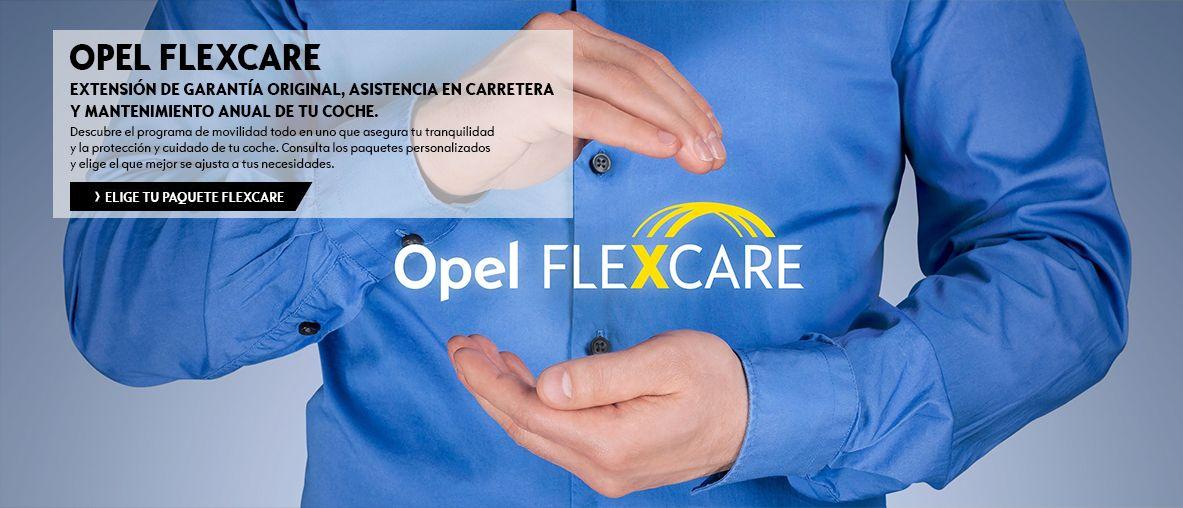 Opel Flexcare, extensión de garantía original, asistencia en carretera y mantenimiento anual de tu coche.