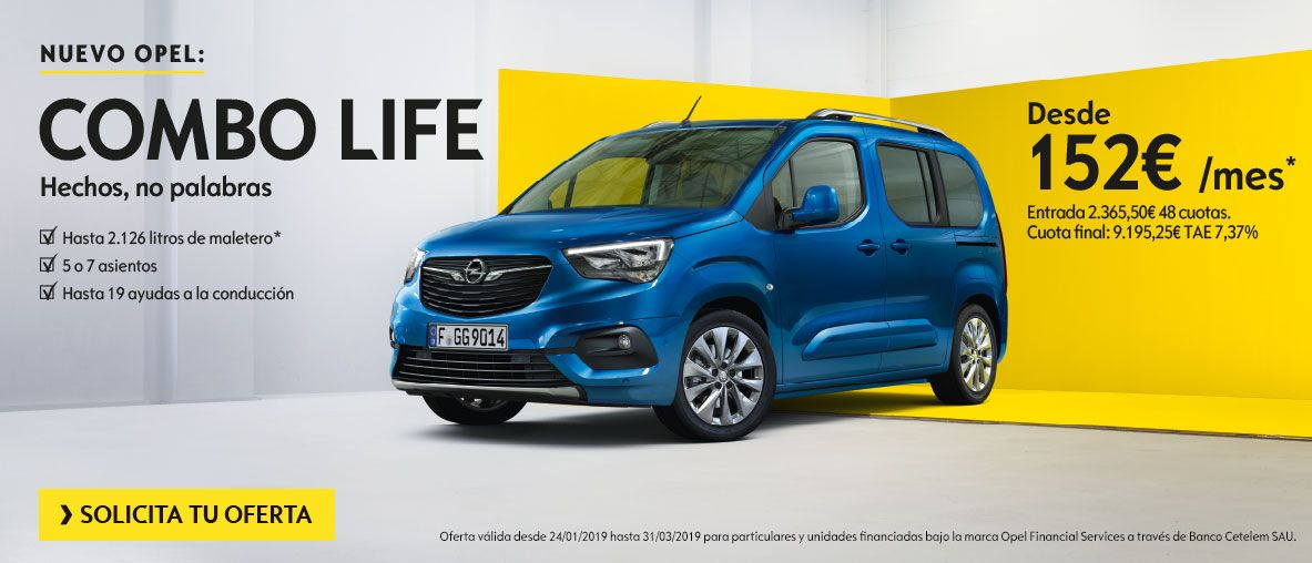 Nuevo Opel Combo Life por 152€ al mes en Canarias.