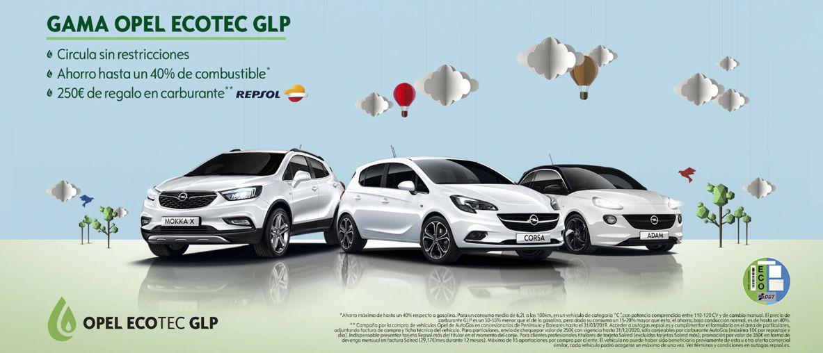 Gama Opel Ecotec GLP. 250€ de regalo en carburante.