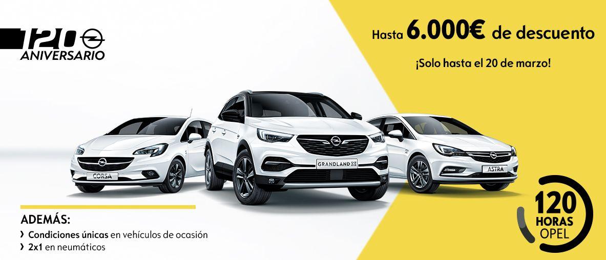 120 horas de Opel, hasta 6.000€ de descuento.