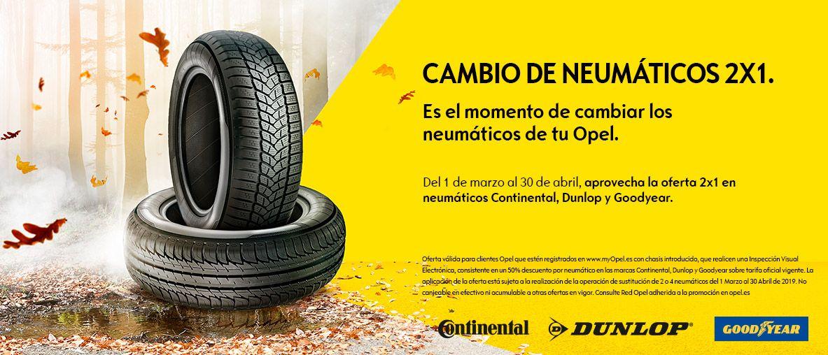 Cambio de neumáticos 2 X 1, neumáticos Continental, Dunlop y Goodlyear.