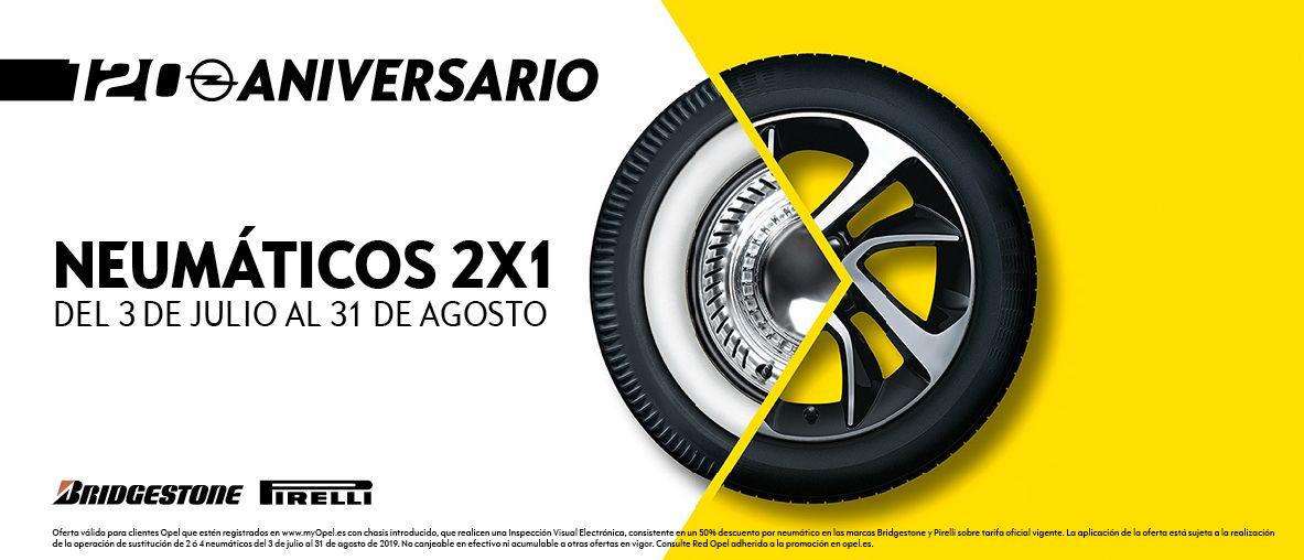 Del 3 de julio al 31 de agosto, aprovecha la oferta 2x1 en neumáticos  Bridgestone y  Pirelli.