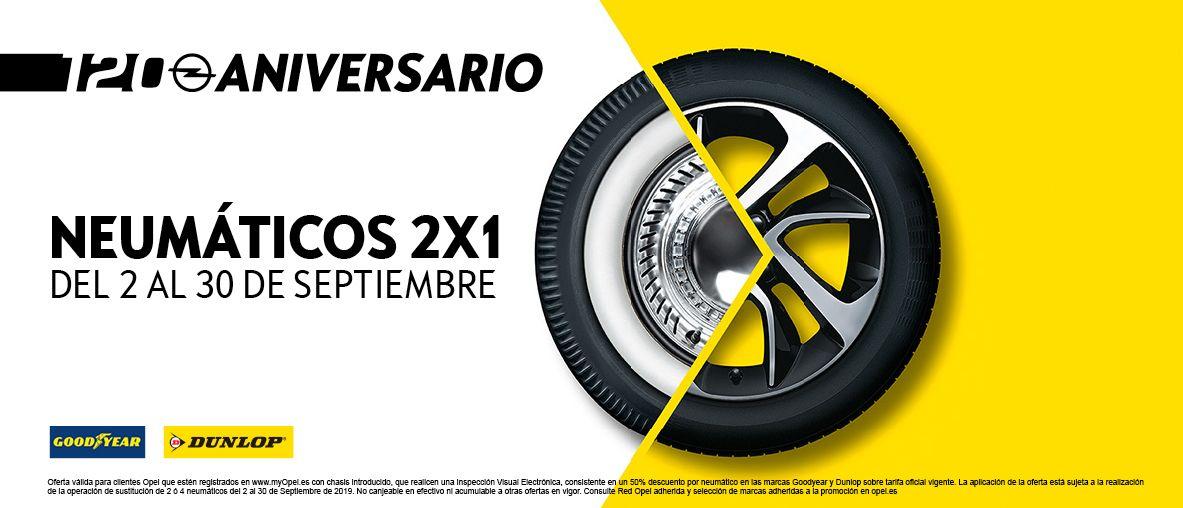 Del 2 de septiembre al 30 de septiembre, aprovecha la oferta 2x1 en neumáticos Bridgestone y Pirelli