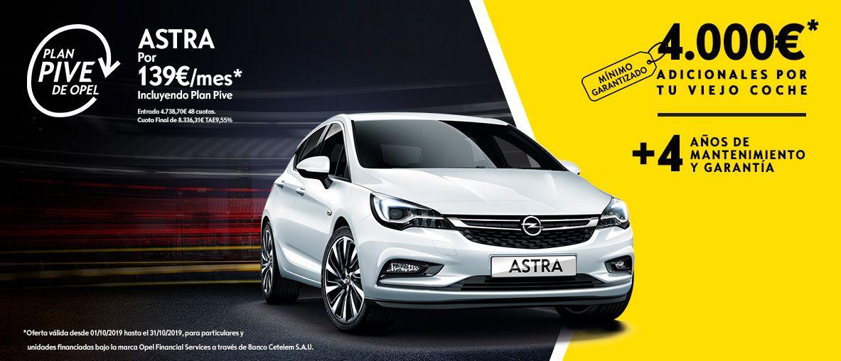 Plan Pive de Opel, Opel Astra por 139€/mes.