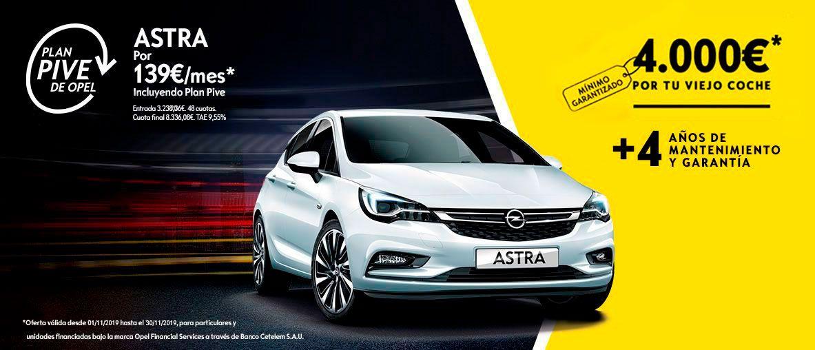 Plan Pive de Opel, Opel Astra por 139€/mes en Canarias