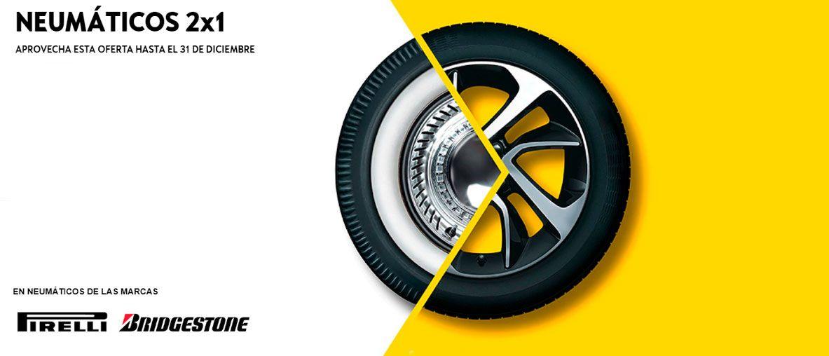 2x1 en neumáticos Bridgestone y Pirell, aprovecha esta oferta hasta el 30 de noviembre.