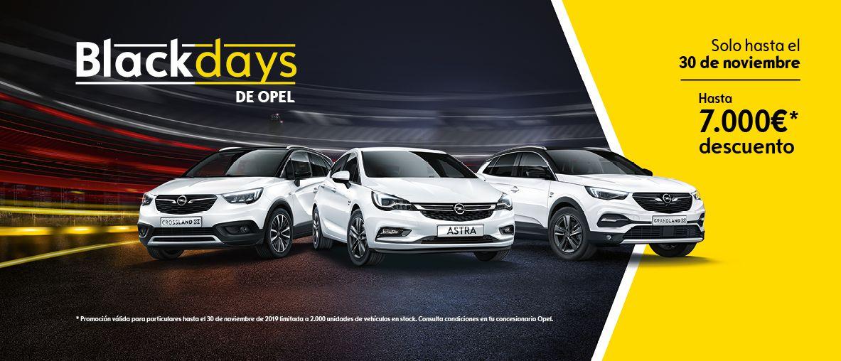 BlackDays de Opel, hasta 7.000€ de descuento en toda la gama Opel.