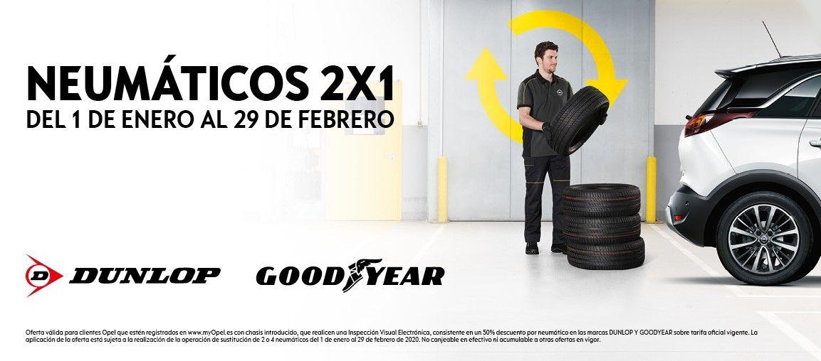 2x1 en neumáticos Dunlop y Goodyear, es el momento de cambiar los neumáticos de tu Opel.