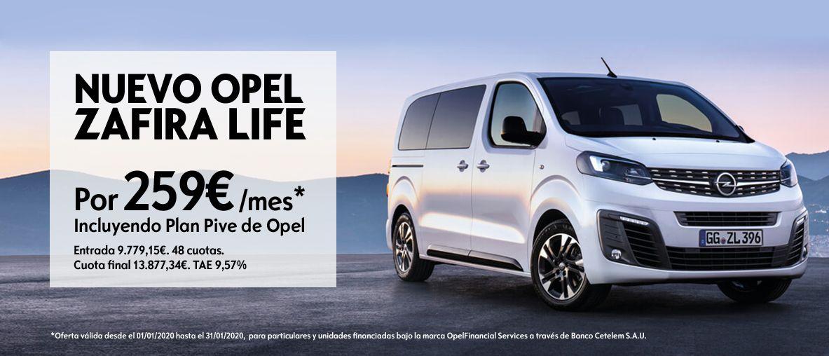 Nuevo Opel Zafira Life por 259€/mes, incluyendo en Plan Pive de Opel