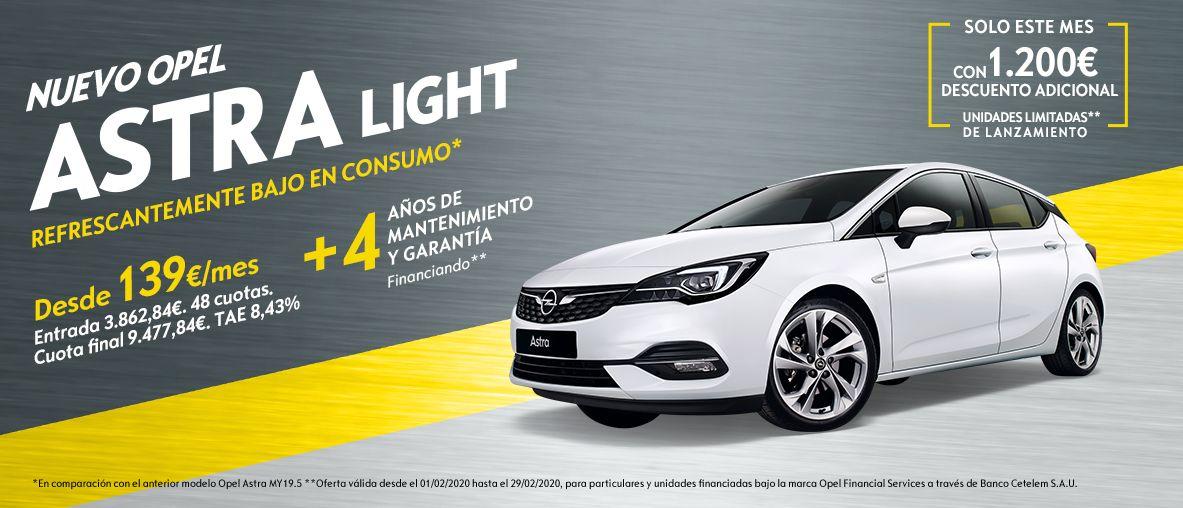 Nuevo Opel Astra Light, desde 139€/mes + 4 años de garantía y mantenimiento,sólo este mes con 1.200€ descuento adicional .