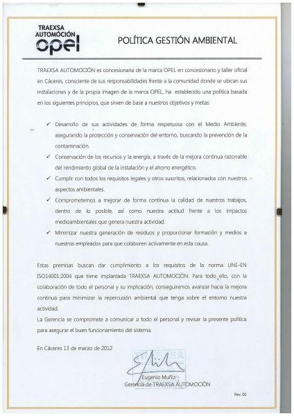 Politica Gestión Ambiental TRAEXSA AUTOMOCION
