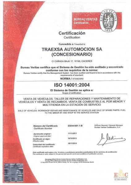 CERTIFICADO ISO14001:2004 CONCESIONARIO