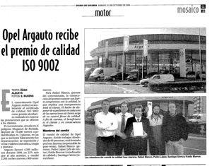 21 de Octubre de 2000: Argauto primer Concesionario Opel de Navarra en obtener la Norma ISO 9002.