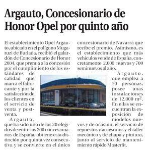 Año 2005: Opel-Argauto entre los mejores Concesionario por quinto año al obtener el premio Concesionario de Honor 2004.