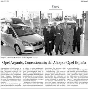 11 de Marzo de 2008: Opel España premia nuevamente a Argauto como Concesionario Opel del año 2007.