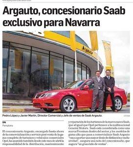 25 de Abril de 2008: Argauto nombrado nuevo Concesionario Saab exclusivo para Navarra.