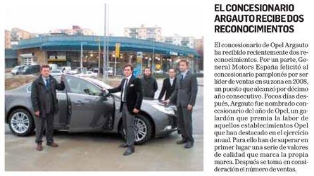 Año 2009: Argauto obtiene dos nuevos galardones de Opel España líder de ventas 2008 y Concesionario Opel del año 2009.