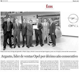 9 de Marzo de 2009: Argauto líder de ventas Opel por décimo año consecutivo.