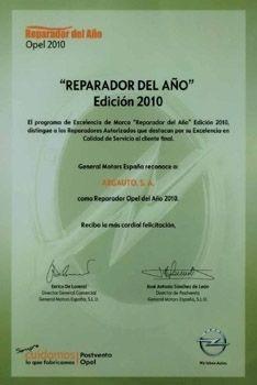 OPEL ARGAUTO ES NOMBRADO REPARADOR DEL AÑO 2010