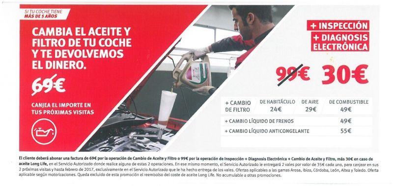 CAMBIA EL ACEITE Y FILTRO Y FILTRO DE TU COCHE Y TE DEVOLVEMOS EL DINERO