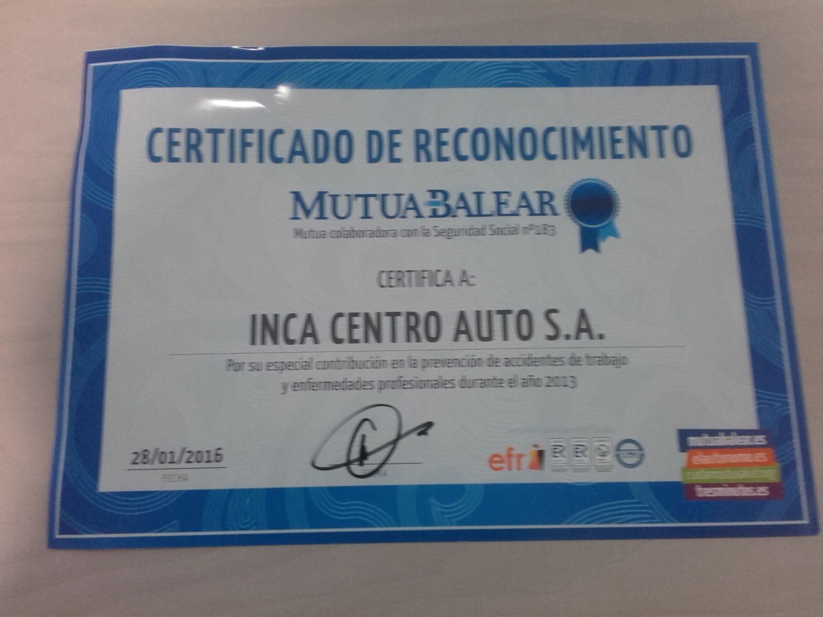 Mutua Balear otorga su Certificado de Reconocimiento a Inca Centro Auto