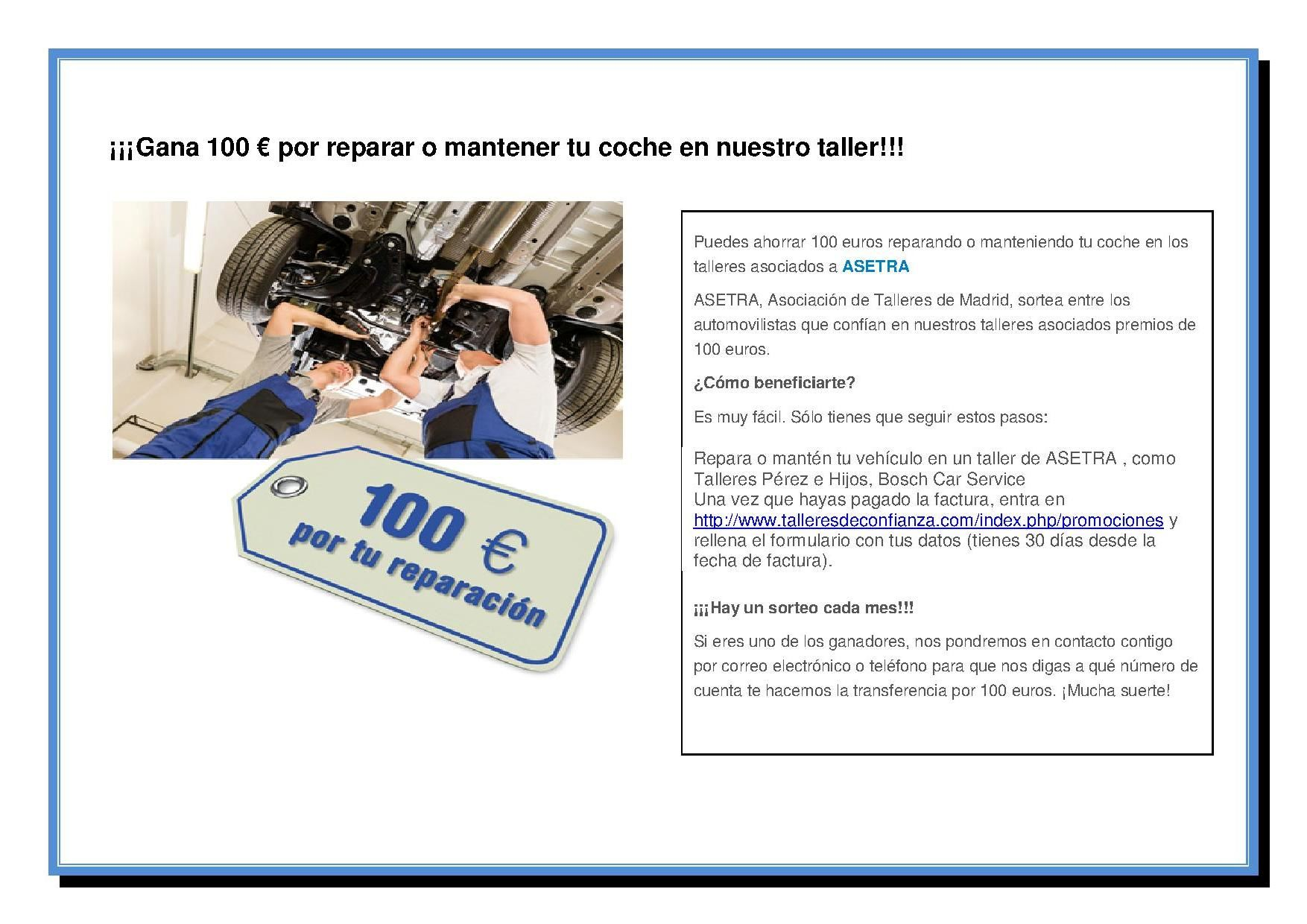 ¡¡¡GANA 100 € POR REPARAR O MANTENER TU COCHE EN NUESTRO TALLER!!!