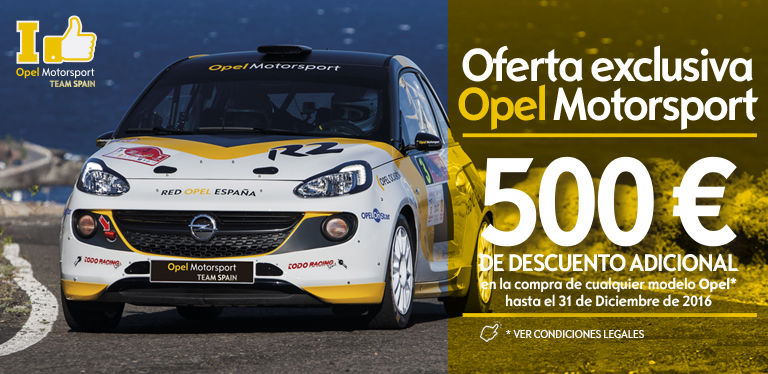 Oferta exclusiva Opel Motorsport: 500€ de descuento en tu nuevo Opel