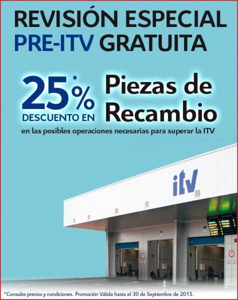 25% DESCUENTO EN RECAMBIOS PARA TU PRE-ITV GRATUITA.