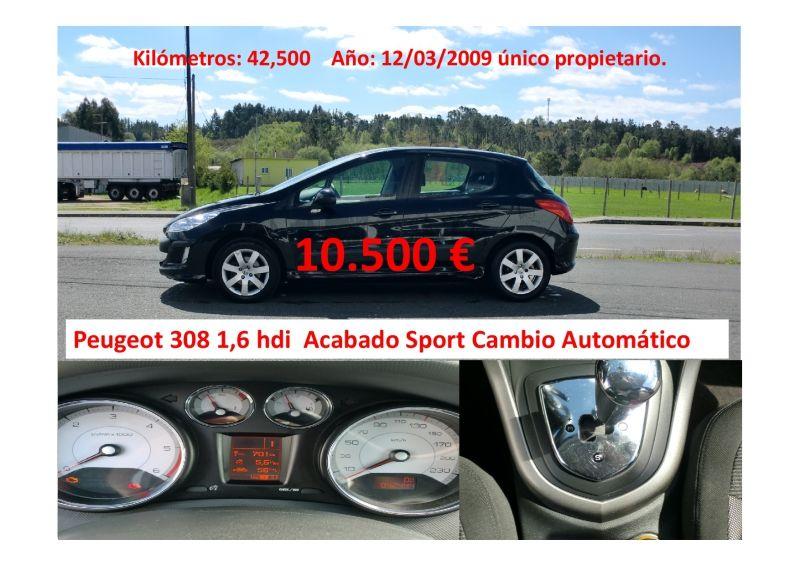 Peugeot 308 1,6 Hdi 110CV cambio automatico solo 42.500 kilómetros