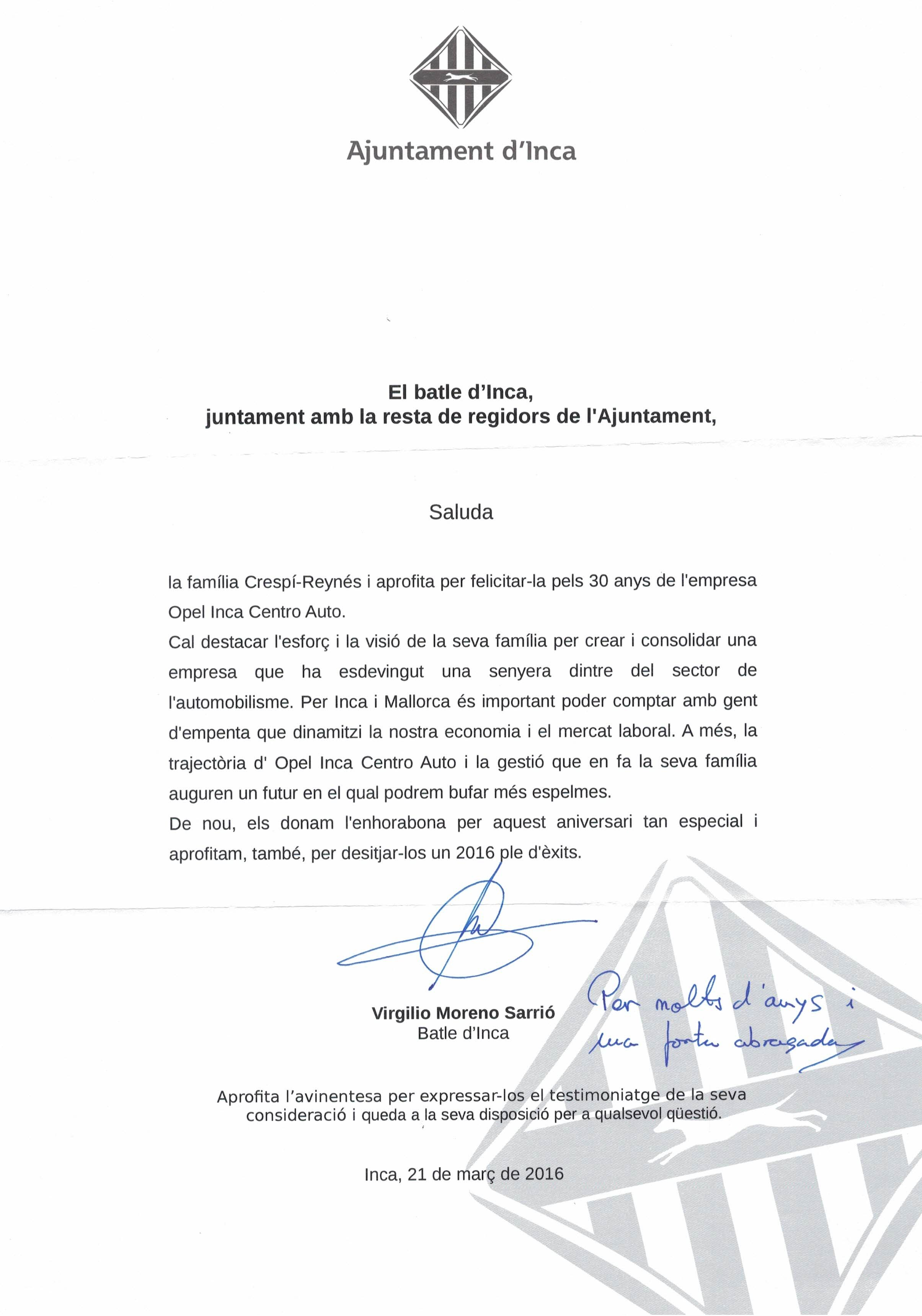 El Ajuntament d'Inca felicita a Inca Centro Auto por su 30 aniversario