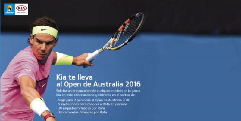 Kia, patrocina el Open de Australia de tenis y sortea regalos relacionados con Rafa Nadal