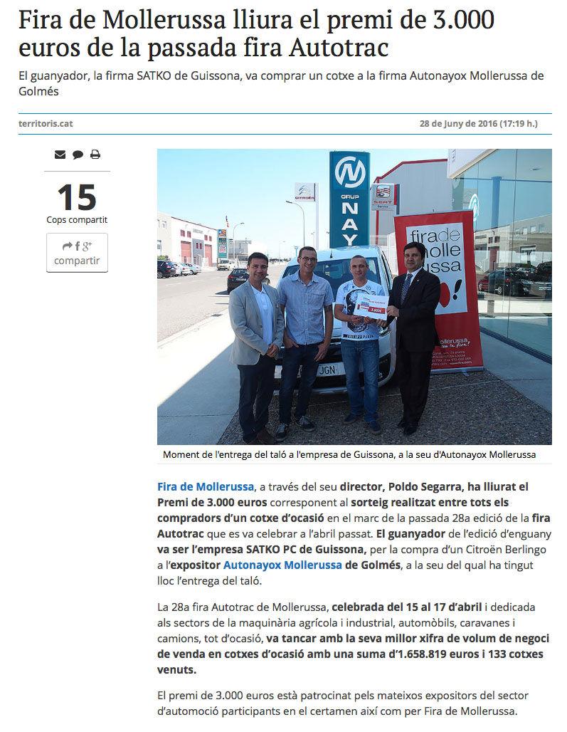 UN COMPRADOR DE AUTO NAYOX RECIBE 3.000 EUROS DE FIRA MOLLERUSSA