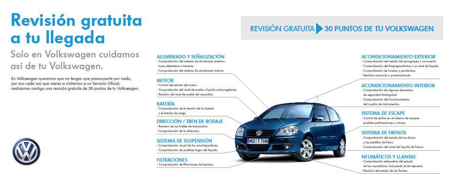 Revisión Gratuita a tu llegada. Solo en Volkswagen cuidamos así de tu coche.