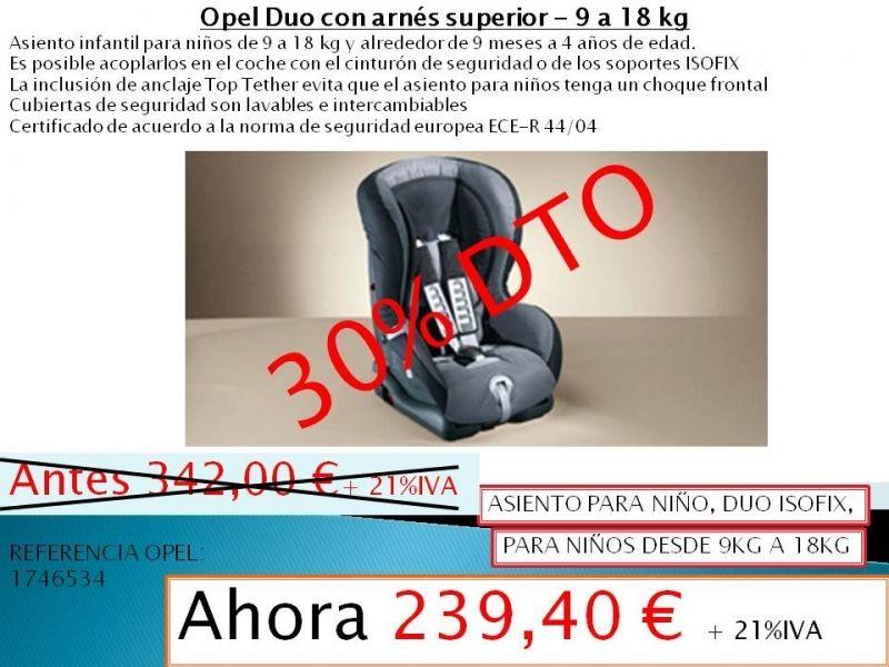 ASIENTO PARA NIÑO, DUO ISOFIX, DESDE 9KG A 18KG