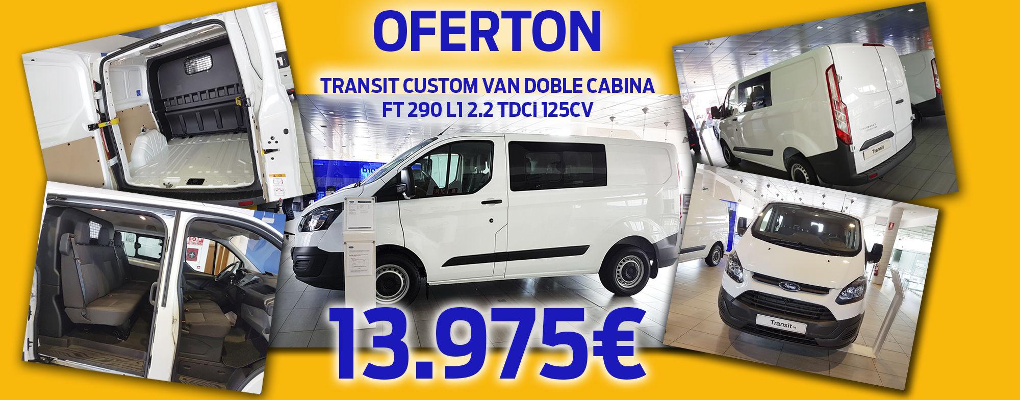 FORD TRANSIT CUSTOM VAN DOBLE CABINA  FT 290 L1 2.2 TDCi 125CV 13.975 €