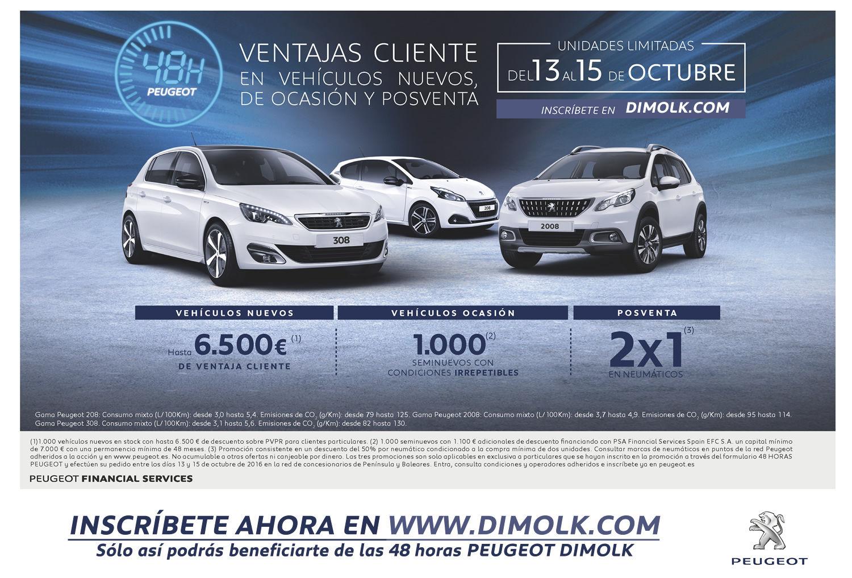 48 HORAS DE OFERTAS EXCLUSIVAS Y LIMITADAS EN PEUGEOT DIMOLK