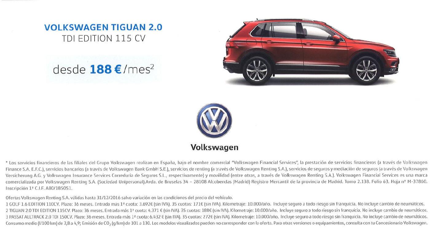 Nuevo volkswagen Tiguan desde 188 euros al mes!!!