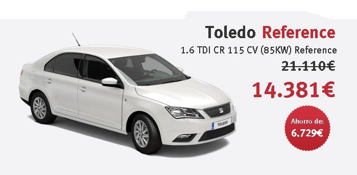 SEAT Toledo Reference 1.6 TDI CR 115 CV (85KW) Reference Color Blanco Bila con 6.729 € de ahorro