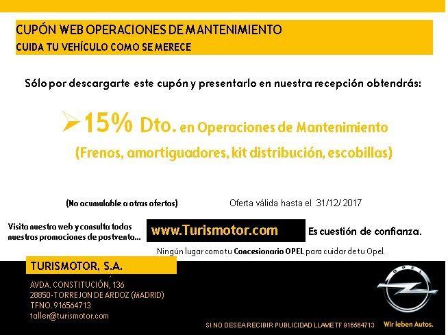 CUPÓN DESCUENTO OPERACIONES DE MANTENIMIENTO