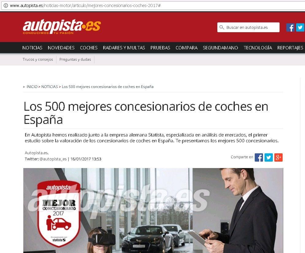 TURISMOTOR ENTRE LOS MEJORES CONCESIONARIOS DE TODA ESPAÑA, SEGUN EL INFORME DE LA REVISTA AUTOPISTA