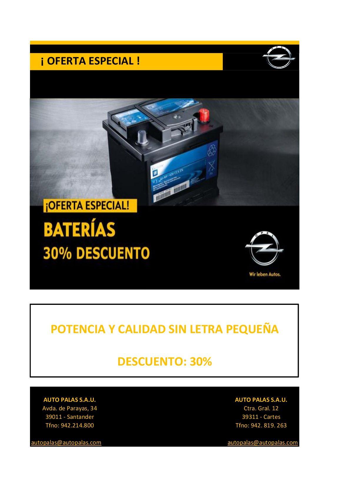 OFERTA BATERIAS OPEL 30% DESCUENTO