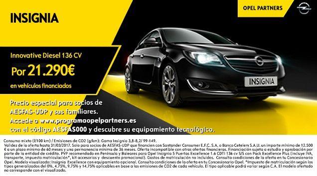 Opel Insignia Innovative por 21.290€ para socios de AESFAS