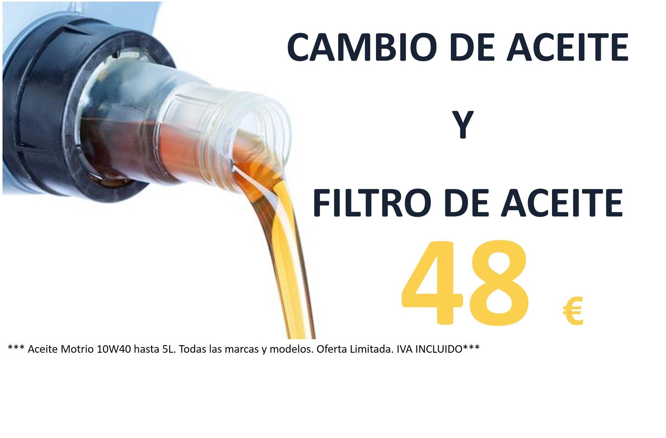 CAMBIO DE ACEITE Y FILTRO ACEITE 10w40 POR  48€