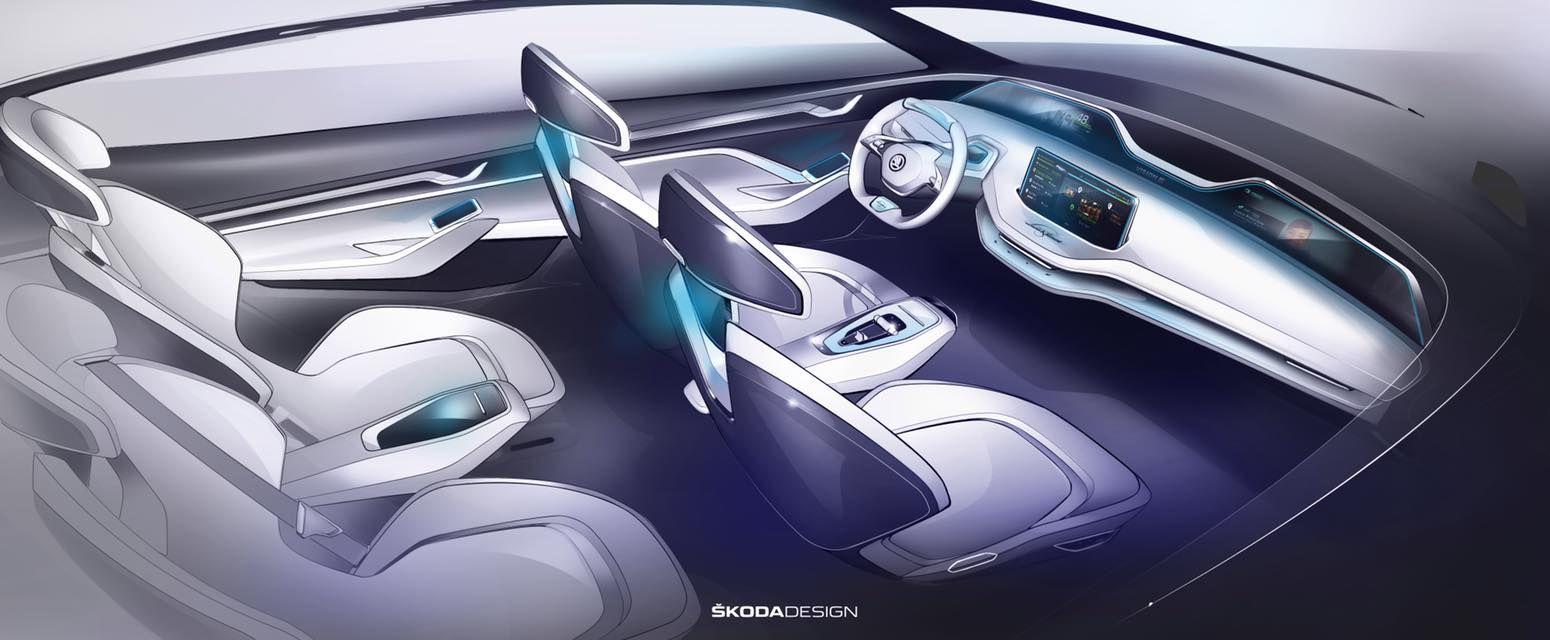 Así será el interior del Skoda Vision E que será presentado en el Salón de Shanghai 2017.