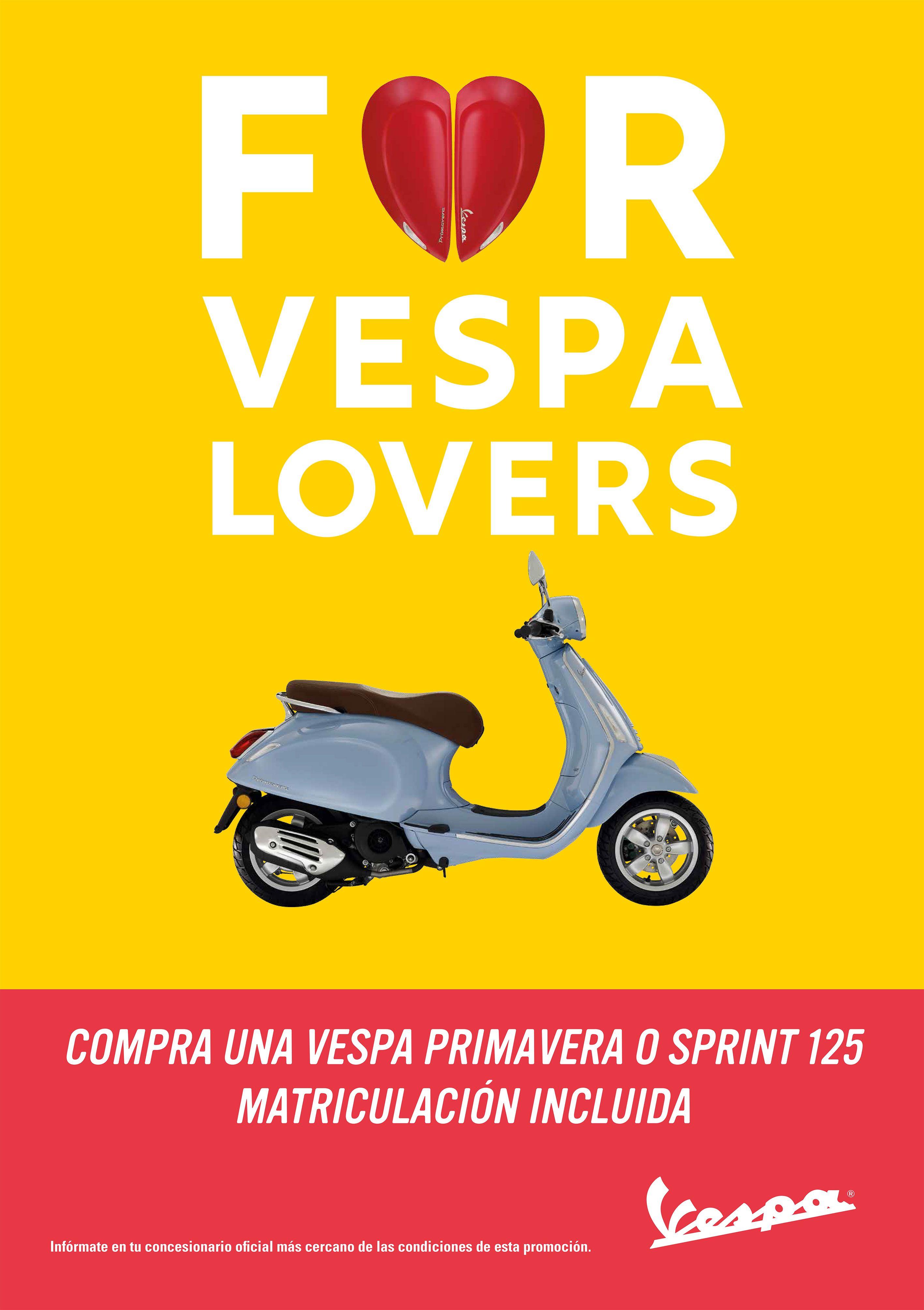 Para los amantes Vespa, llévate tu Vespa Primavera 125 o Vespa Sprint 125 con matriculación gratis